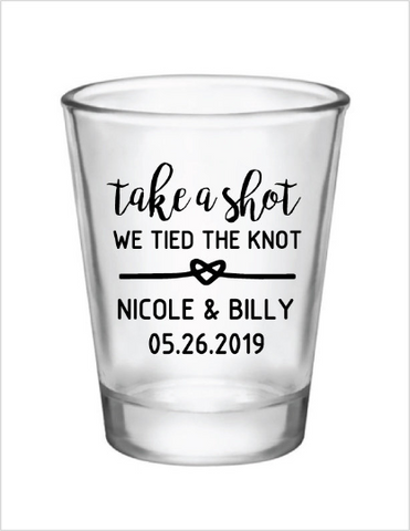 Take a shot we tied the knot personalized wedding shot glasses