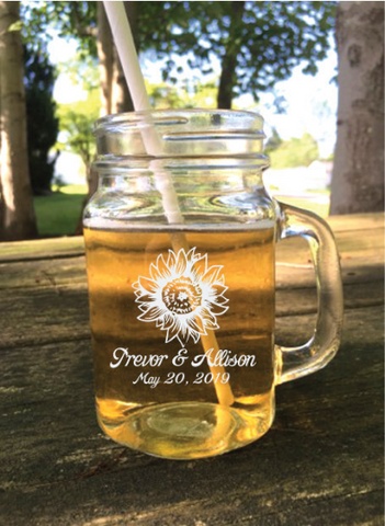 Personalized sunflower mason jar wedding favors