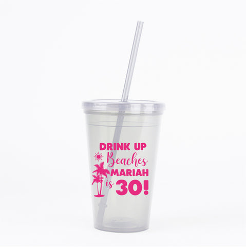 Beach birthday tumblers