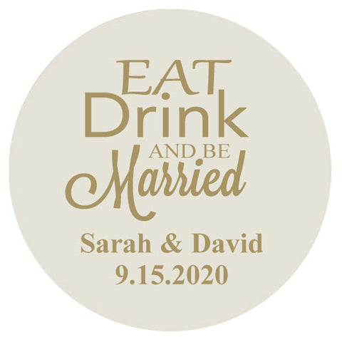 Wedding coasters, Eat drink and be married, extra thick pulp board personalized coasters