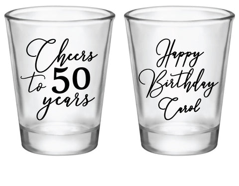 Elegant 50th birthday shot glasses (customized for any age)