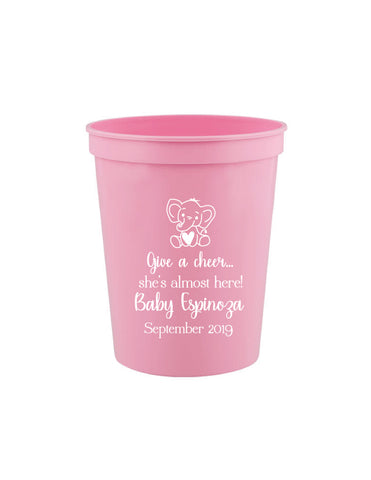 Elephant baby shower cups