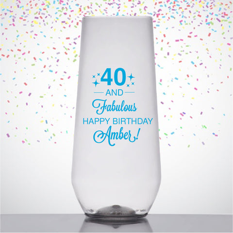 40th birthday champagne flutes, 40 and fabulous