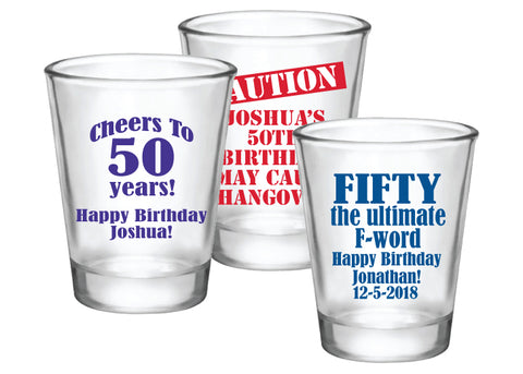 Personalized 50th birthday shot glasses favors