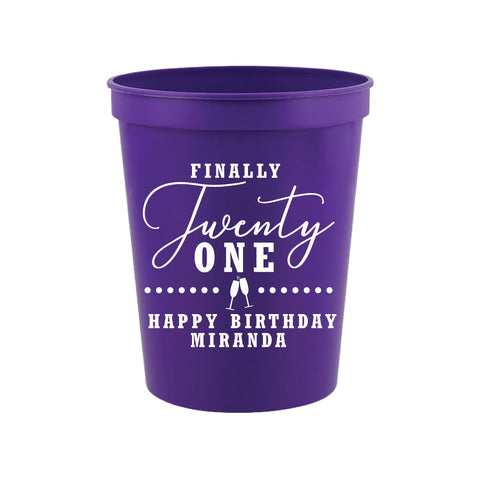Personalized finally 21 birthday cups, 21st birthday cups