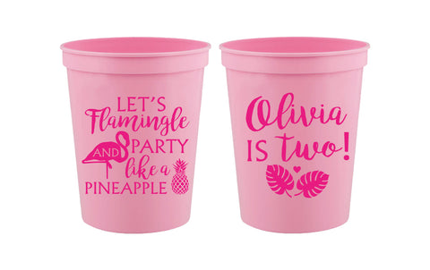 Personalized flamingo birthday party cups, flamingo cups bulk