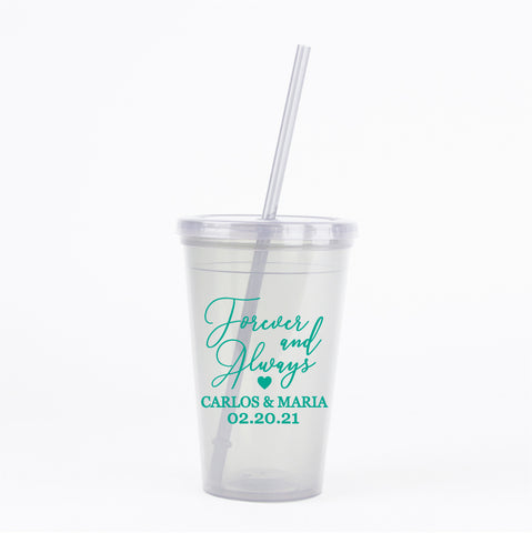 Forever and always wedding tumblers