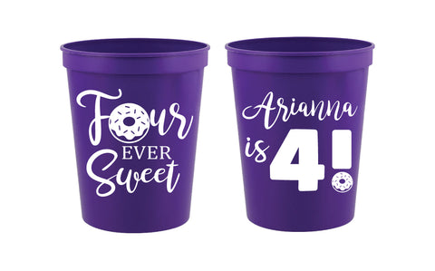 Personalized donut birthday cups, 4th birthday cups four ever sweet