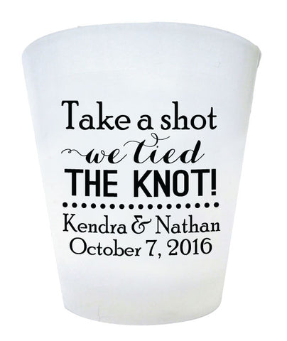 Frosted plastic shot glasses, personalized wedding favors, take a shot we tied the knot, budget friendly favors