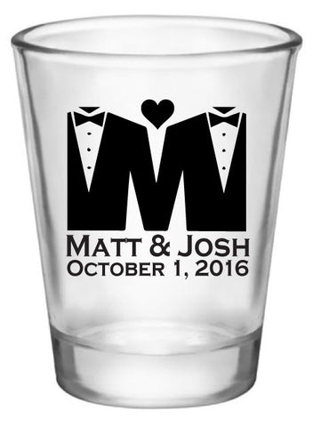 Personalized gay wedding shot glasses