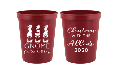 Christmas party cups- gnome for the holidays- gnome cups