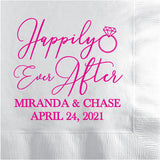 Personalized wedding napkins happily ever after