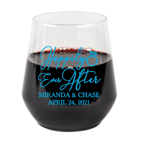 Plastic wine glasses- Happily ever after