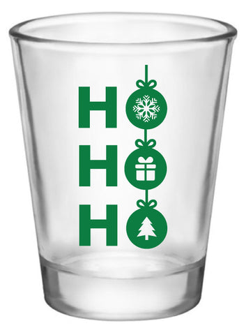 Personalized Christmas party shot glasses, ho ho ho design