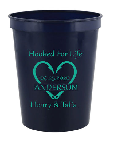 Hooked for life wedding cups