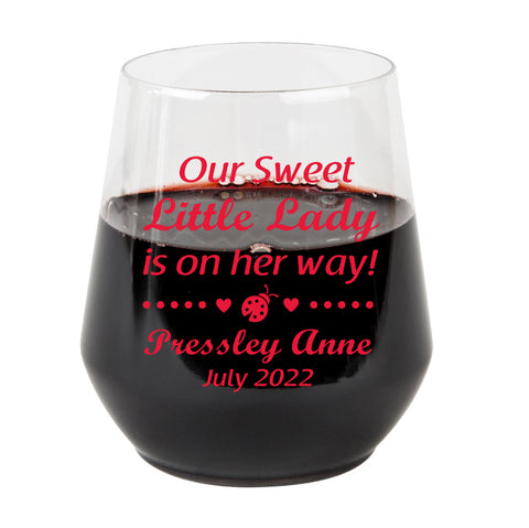 Plastic wine glasses- lady bug baby shower