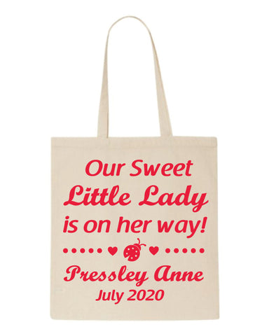 Lady bug baby shower tote bags