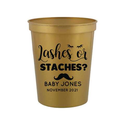 Lashes or staches- gender reveal cups