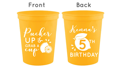 Personalized lemon birthday cups, pucker up grab a cup