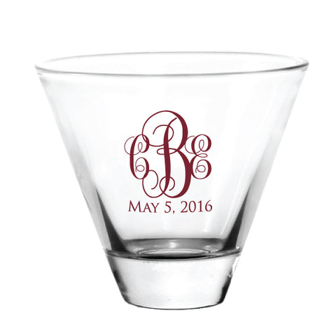 Stemless martini glasses, personalized wedding favors, monogram design