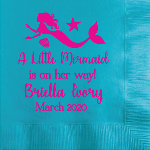 Mermaid baby shower napkins