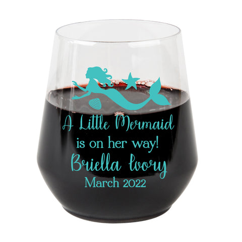 Plastic wine glasses- mermaid baby shower
