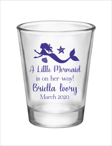 Personalized mermaid baby shower shot glasses