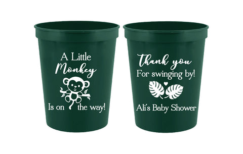 Monkey baby shower cups