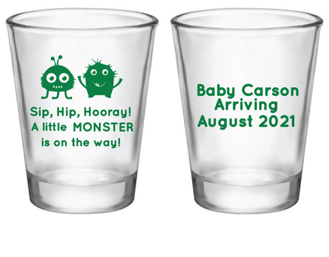 Monster baby shower shot glasses