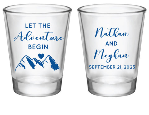 Mountain wedding shot glasses
