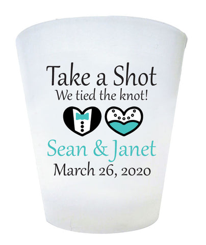 Plastic shot glasses, 2-color print to match your wedding colors, personalized wedding favors. Take a shot we tied the knot!