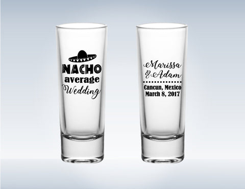 fiesta wedding shot glasses, tall shot glasses, personalized wedding favors