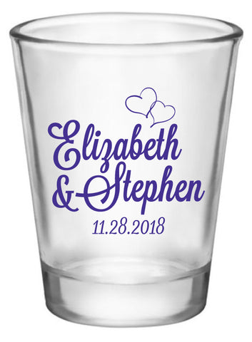 Monogram wedding shot glasses, personalized wedding favors