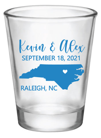 North Carolina wedding shot glasses
