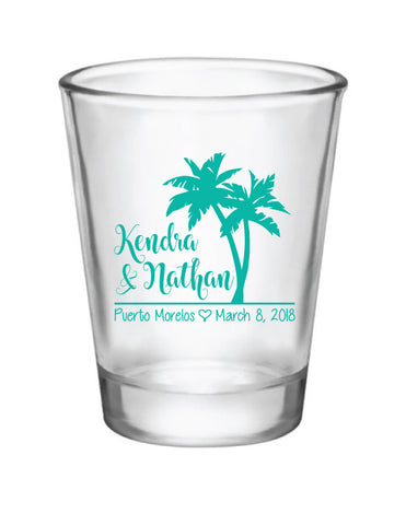 Destination wedding palm tree shot glasses