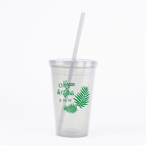 Palm leaf wedding tumblers