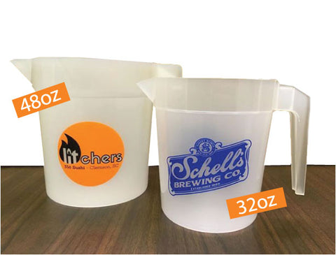 Stackable pitchers- printed with a logo of your choice. Printed pitchers for your restaurant, bar, or company.