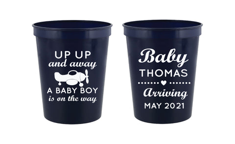 Airplane baby shower cups