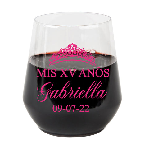 Quinceañera plastic wine glasses