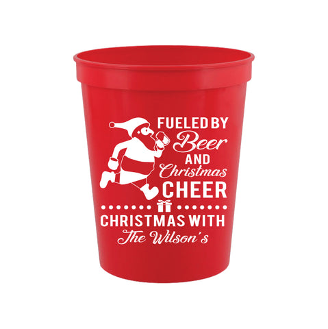 Christmas Party Cups- Fueled by beer and Christmas cheer