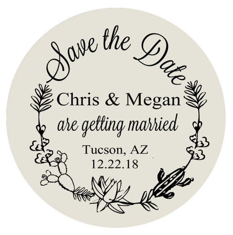 Wedding save the dates, cactus succulent themed wedding, personalized save the date magnets