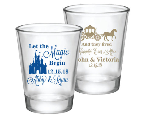 Cinderella Disney princess wedding favors, personalized shot glasses