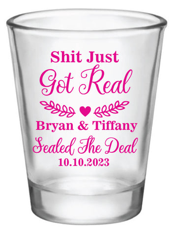 Shit just got real- wedding shot glasses