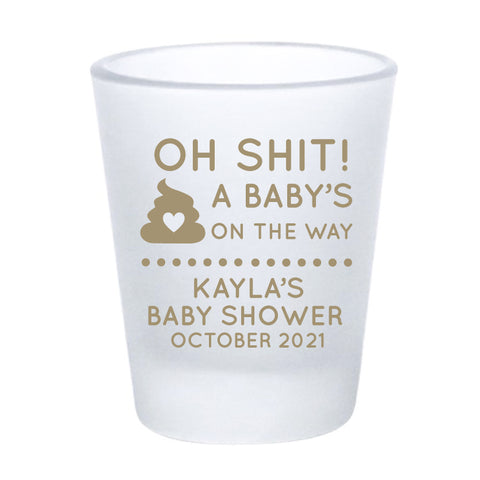 Oh shit! baby shower shot glasses