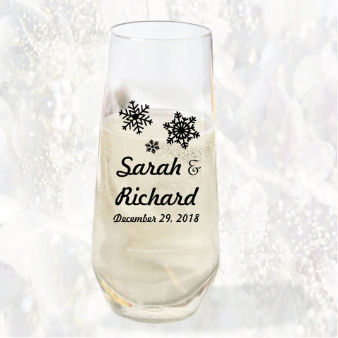 Winter wedding champagne flutes, personalized wedding favors