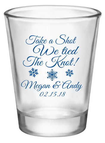 Winter wedding shot glasses, take a shot we tied the knot