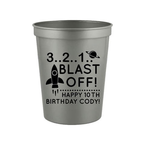 Spaceship birthday party cups