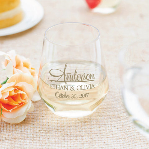 Wedding wine glasses, wedding favors, plastic stemless wine glasses, budget friendly