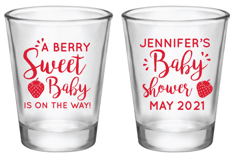 Personalized strawberry baby shower shot glasses