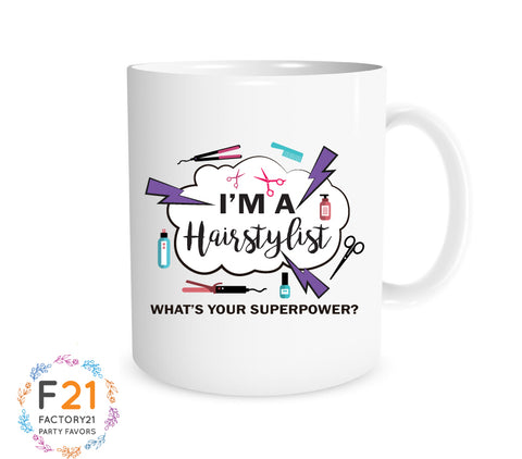 Hairstylist mug (superhero design)